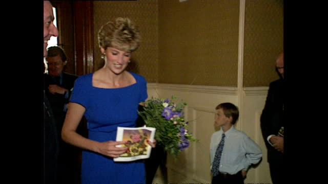 interior shots of princess diana, princess of wales arriving at the proms at the royal albert hall wearing a blue dress on july 17, 1992 in london,... - princess stock videos & royalty-free footage