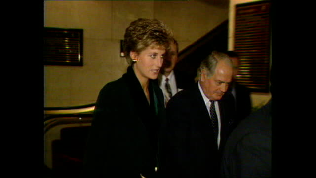 interior shots of princess diana princess of wales arriving at the foyer of london hilton park lane hotel ahead of her announcement of withdrawal... - 1993 stock videos & royalty-free footage