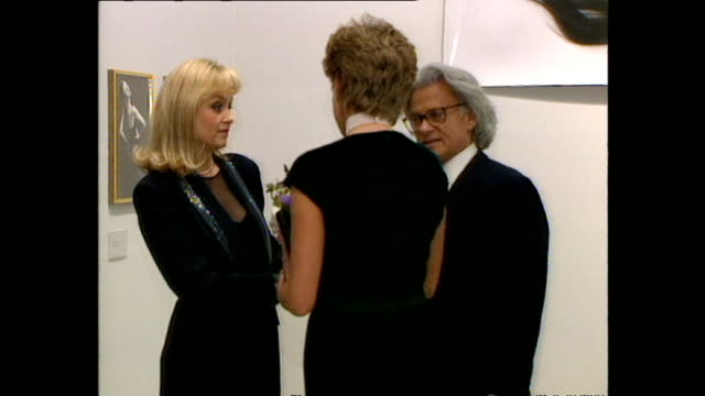 Interior shots of Princess Diana Princess of Wales arriving at the National Portrait Gallery for opening of Richard Avedon Photographic Exhibition...