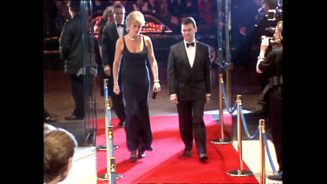 Interior shots of Princess Diana Princess of Wales arriving at the premiere of the film Haunted and greeting Anthony Andrews and cast on 26 October...