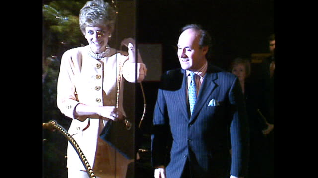 Interior shots of Princess Diana Princess of Wales arriving at the Hilton Hotel for Headway National Head Injuries Association meeting on 16 December...