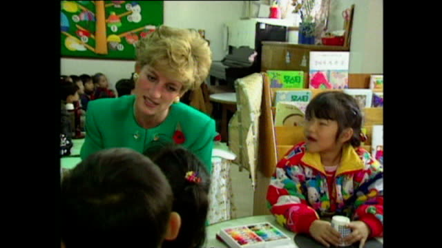 interior shots of princess diana, princess of wales, being shown round school and meeting small children in classroom, during royal tour on 6... - 1992 stock videos & royalty-free footage