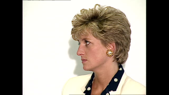 interior shots of princess diana, princess of wales, on stage at the isdd media awards handing out awards to winners looking serious and at times... - relationship difficulties stock videos & royalty-free footage