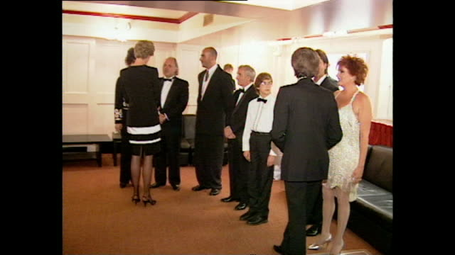 interior shots of princess diana princess of wales speaking to celebritites including lionel blair tom jones liza minnelli joan collins jerry lewis... - cliff richard stock videos and b-roll footage
