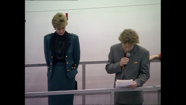 """interior shots of princess diana, princess of wales, unveiling the name of the new virgin airbus """"the lady in red"""" with sir richard branson on 6... - launch event stock videos & royalty-free footage"""