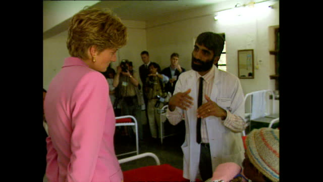 Interior shots of Princess Diana Princess of Wales visiting Anandaban Hospital speaking to doctors and meeting leprosy patients during her royal...