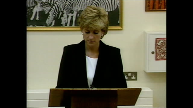 Interior shots of Princess Diana Princess of Wales visiting Broadmoor Hospital Richard Dadd Centre and giving speech and unveiling plaque on 14...