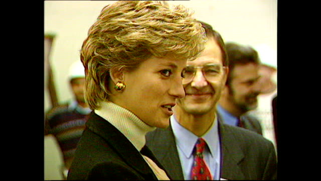 interior shots of princess diana princess of wales visiting centrepoint homeless shelter and speaking to staff and visitors on 13 january 1995 london... - british royalty stock videos and b-roll footage