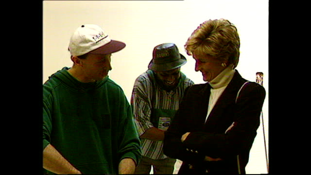 interior shots of princess diana princess of wales visiting centrepoint homeless shelter and speaking to staff and visitors on 13 january 1995 london... - homeless shelter stock videos and b-roll footage