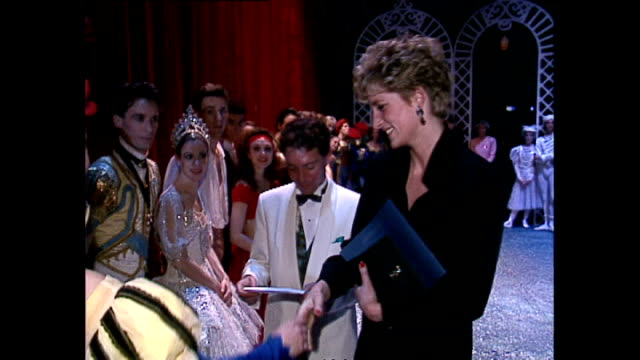 Interior shots of Princess Diana talking to ballet dancers from around the world participating in AIDS benefit at the Royalty Theatre London on...