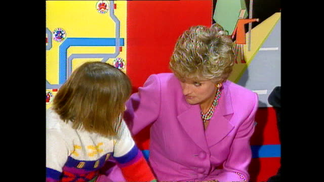 interior shots of princess diana talking to sick children on her visit to great ormond street hospital on february 14 1994 in london england - visit stock videos and b-roll footage