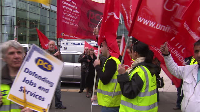 interior shots of public sector workers at unite rally and bob crow sat at front amongst other union leaders unite rally at methodist central hall at... - streik stock-videos und b-roll-filmmaterial