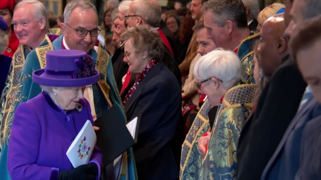 interior shots of queen elizabeth ii and members of the royal family attending commonwealth day service at westminster abbey on 11 march 2019 in... - westminster abbey stock videos & royalty-free footage