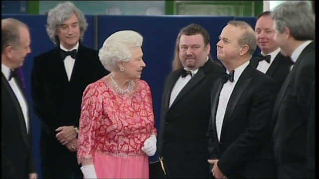 interior shots of queen elizabeth ii and prince philip, duke of edinburgh arriving and greeting celebrities including ian hislop, derek jacobi and... - ian hislop stock videos & royalty-free footage