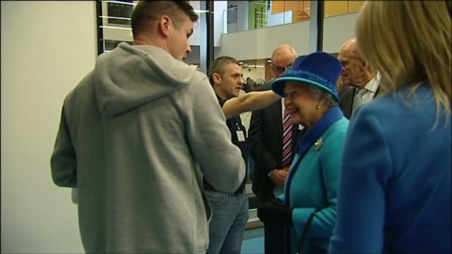 interior shots of queen elizabeth ii and prince philip duke of edinburgh meeting young people and staff at a boxing club at the factory youth zone in... - youth club stock videos & royalty-free footage