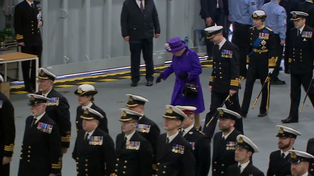 Interior shots of Queen Elizabeth II attending the Commissioning Ceremony For the Royal Navy's new aircraft carrier HMS Queen Elizabeth on 7th...