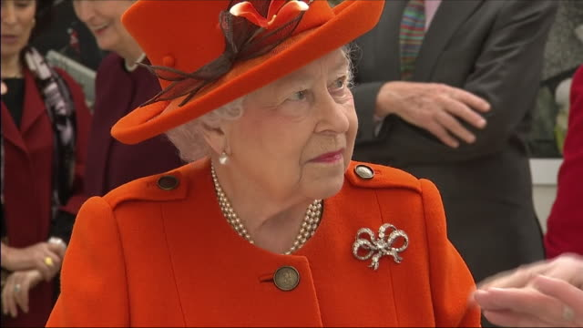 interior shots of queen elizabeth ii being shown around the royal academy of arts and looking at a model of burlington gardens, the extension to... - elizabeth ii stock videos & royalty-free footage