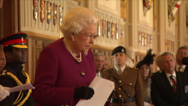 interior shots of queen elizabeth ii colonelinchief of the royal tank regiment presents the royal tank regiment with a new standard in st george's... - windsor castle stock videos & royalty-free footage