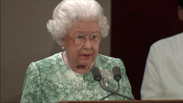Interior shots of Queen Elizabeth II giving an opening speech to the Commonwealth Heads of Government Meeting at Buckingham Palace on 19 April 2018