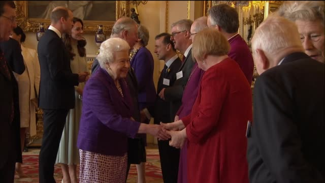 interior shots of queen elizabeth ii greeting theresa may pm and various guests. followed by prince charles and camilla, duchess of cornwall; prince... - ヨーク公爵夫人点の映像素材/bロール