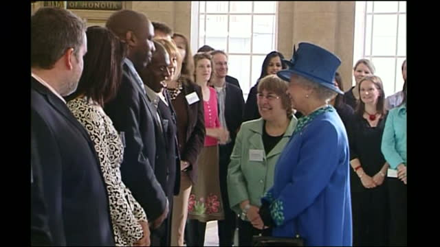 interior shots of queen elizabeth ii meeting bbc radio presenters including sonia deol, chris moyles, james naughtie, john humphrys and terry wogan,... - terry wogan stock-videos und b-roll-filmmaterial