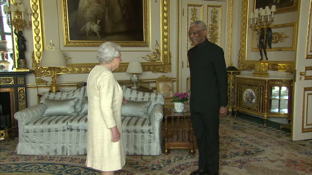 interior shots of queen elizabeth ii meeting with david granger president of the cooperative republic of guyana at windsor castle on april 26th 2017 - windsor castle stock videos & royalty-free footage