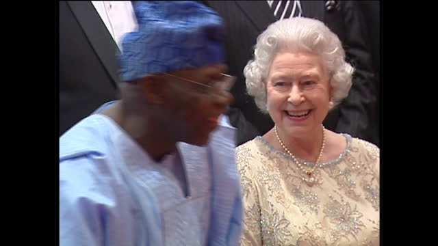 interior shots of queen elizabeth ii prince philip duke of edinburgh pose for a group photograph with commonwealth heads at the dinner for chogm... - british empire stock videos & royalty-free footage