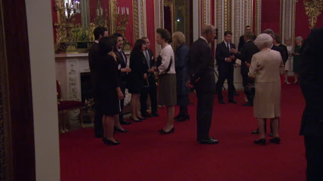 interior shots of queen elizabeth ii prince philip prince andrew and princess anne chatting to guests at the the queen elizabeth prize for... - principessa video stock e b–roll