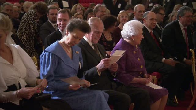 interior shots of queen elizabeth ii prince philip princess anne and princess michael of kent taking their seats before hearing poetry readings at a... - princess michael of kent stock videos and b-roll footage
