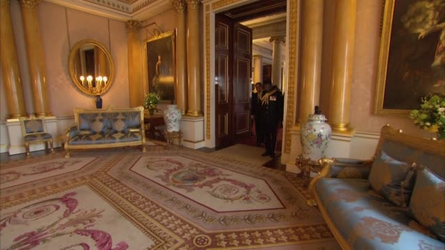 interior shots of queen elizabeth ii receiving the president of cyprus nicos anastasiades at buckingham palace in london on 6 march 2019 united... - バッキンガム宮殿点の映像素材/bロール