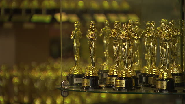 Interior shots of replica Oscar statuettes on sale at the Dolby Theatre souvenir shop on February 28 2016 in Hollywood California