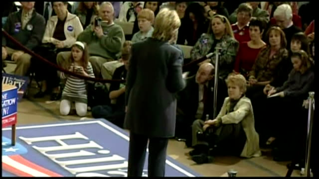 interior shots of republican presidential hopeful hillary clinton speaking to crowds at a rally in iowa on january 27 2007 in des moines iowa - 2008 stock videos & royalty-free footage