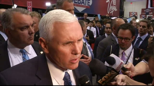Interior shots of Republican Vice Presidential Candidate Mike Pence speaking to reporters about points made by Donald Trump during the third...