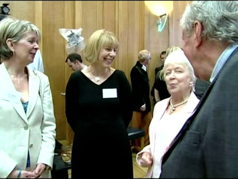 interior shots of richard briers speaking with various people at event for queens 80th birthday celebrations. richard briers dies aged 79 on april... - richard briers stock videos & royalty-free footage