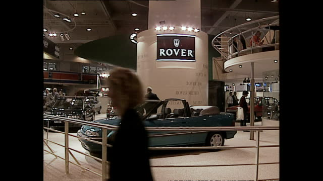 interior shots of rover cars on display at the london motor show >> on october 20 1993 in london england - motor show stock videos and b-roll footage