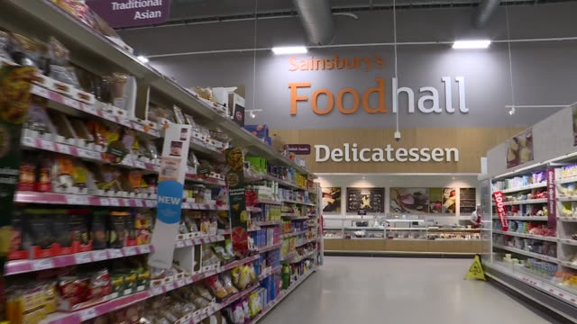 vídeos de stock e filmes b-roll de interior shots of sainsbury's supermarket on 6th february 2019 in london england - sainsburys