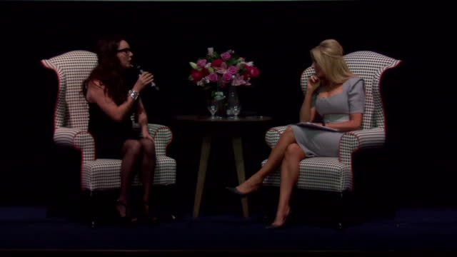 stockvideo's en b-roll-footage met interior shots of sarah brightman speaking to carol vorderman on stage during a news conference about growing up in the 1960's and seeing the first... - carol vorderman