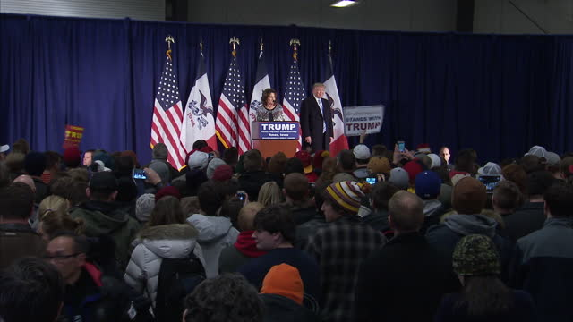 interior shots of sarah palin stood at podium speaking in support of donald trump with trump stood to one side on january 19 2016 in ames iowa - us republican party 2016 presidential candidate stock videos & royalty-free footage