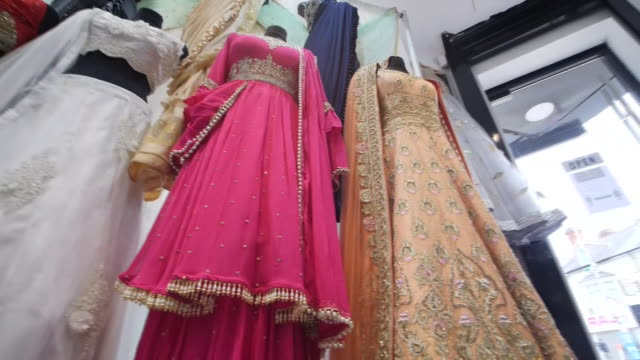 interior shots of saris on display in shop after the extension of the coronavirus lockdown in leicester on 30 june 2020 in leicester united kingdom - indian politics stock videos & royalty-free footage