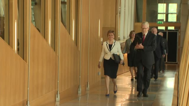 interior shots of scotland's first minister nicola sturgeon on her way to make a statement to the scottish parliament on brexit and a second... - holyrood bildbanksvideor och videomaterial från bakom kulisserna