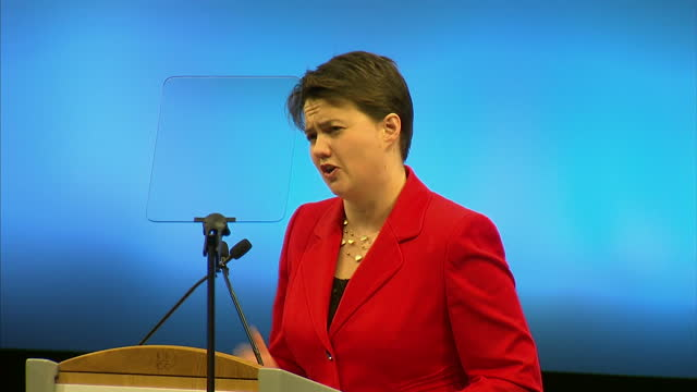 interior shots of scottish conservative leader ruth davidson delivering her keynote speech at the conservative party conference on march 16 2014 in... - keynote speech stock videos and b-roll footage