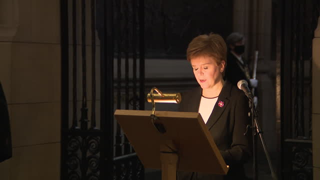 interior shots of scottish first minister nicola making a speech at the remembrance sunday service at edinburgh castle, all present wearing face... - remembrance sunday stock videos & royalty-free footage