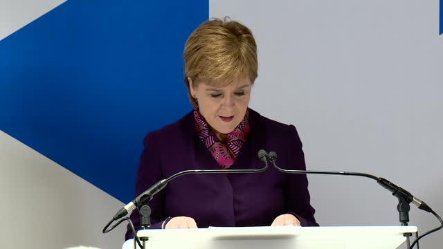 Interior shots of Scottish First Minister Nicola Sturgeon giving a speech following the publication of a report on how Brexit will affect the...