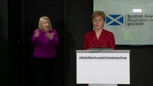interior shots of scottish first minister nicola sturgeon giving her daily coronavirus press briefing on 6 april 2020 in edinburgh, scotland - nicola sturgeon stock videos & royalty-free footage