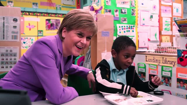 Interior shots of Scottish First Minister Nicola Sturgeon on a visit to a Brooklyn school meeting young children on June 08 2015 in New York City