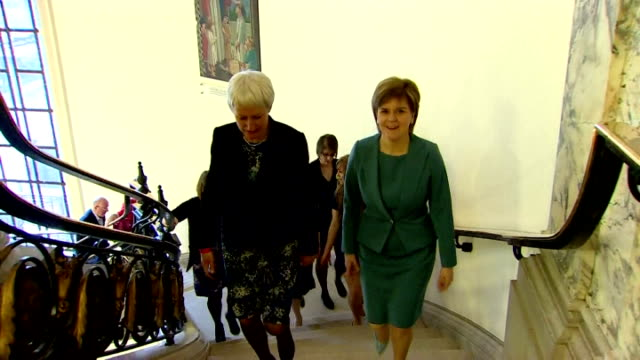 interior shots of scottish national party snp leader nicola sturgeon arriving at the westminster central hall for the bbc leaders debate on april 16... - scottish national party stock videos & royalty-free footage