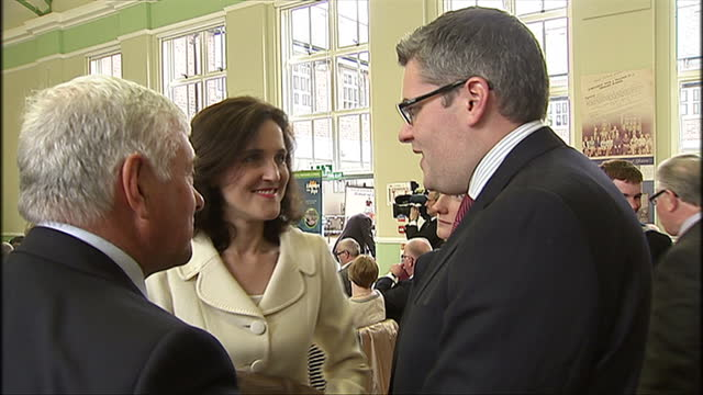 interior shots of Secretary of State for Northern Ireland Theresa Villiers MP First Minister of Northern Ireland Peter Robinson talking to various...