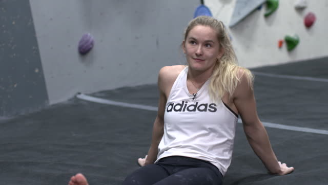 interior shots of shauna coxsey a member of team gb for the tokyo 2020 summer olympics at rock climbing training shot on january 13th 2020 - rock climbing stock videos & royalty-free footage