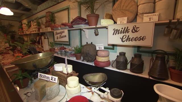 vídeos de stock e filmes b-roll de interior shots of 'since 1869 the sainsbury's 150 experience' a replica of one of the original sainsbury's stores in covent garden to mark the 150th... - sainsburys