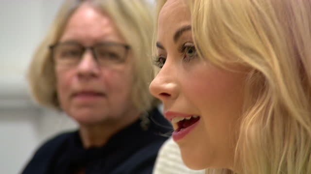 interior shots of singer and activist charlotte church speaking during an anti-austerity press conference criticising conservative party policies.>>... - charlotte church stock videos & royalty-free footage